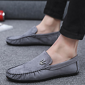 Men's Summer / Fall Classic / British Daily Home Loafers  Slip-Ons Walking Shoes Pigskin Black / Khaki / Gray