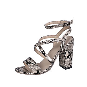 Women's Sandals Animal Print Heel Sandals Summer Chunky Heel Round Toe Outdoor PU Gold / Silver