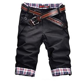Men's Basic Shorts Bermuda shorts Pants Solid Colored Black Khaki Gray US32 / UK32 / EU40 US34 / UK34 / EU42 US38 / UK38 / EU46
