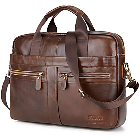 Men's Bags Cowhide Laptop Bag / Briefcase / Top Handle Bag Belt Zipper Solid Color for Shopping / Daily Brown / Fall  Winter