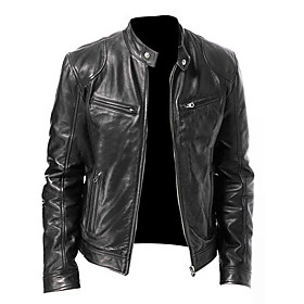 Men's Daily Basic Spring / Fall  Winter Regular Leather Jacket, Solid Colored Stand Long Sleeve Polyester Black / Brown