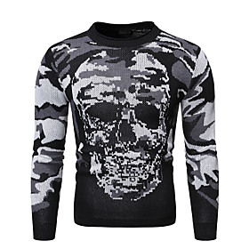 Men's Abstract Sweater Long Sleeve Sweater Cardigans Crew Neck Black Gray