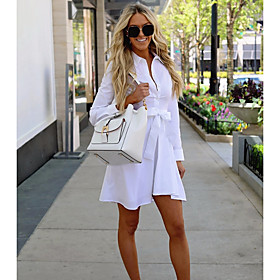 Women's Mini Sheath Dress - Long Sleeve Solid Colored Shirt Collar Basic White S M L XL