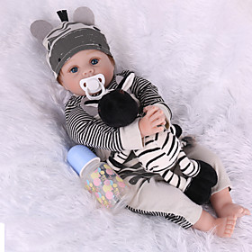 NPK DOLL 22 inch Reborn Doll Reborn Toddler Doll Baby Boy Baby Girl lifelike Safety Gift 3/4 Silicone Limbs and Cotton Filled Body with Clo