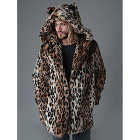 Men's Hooded Winter Coat Long Leopard Going out Long Sleeve Faux Fur Brown S M L