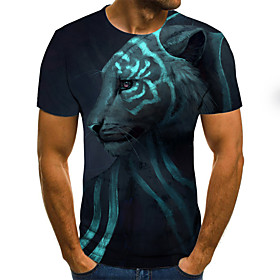 Men's Plus Size 3D Graphic Tiger Pleated Print T-shirt Street chic Weekend Round Neck Navy Blue / Short Sleeve / Animal