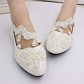 Women's Wedding Shoes Mesh Flat Heel Closed Toe Imitation Pearl / Stitching Lace / Tassel Lace / PU Sweet Spring   Fall White
