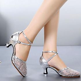 Women's Dance Shoes Modern Shoes / Ballroom Shoes / Line Dance Heel Cuban Heel Black / Gold / Silver / Performance