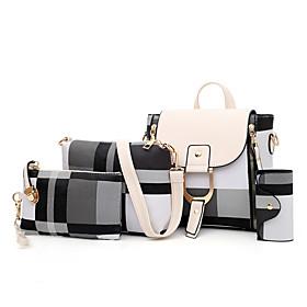 Women's Pattern / Print / Zipper PU Bag Set 2020 Lattice 4 Pieces Purse Set White / Black / Red