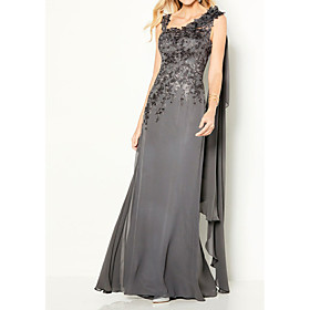 Sheath / Column Elegant Formal Evening Dress Y Neck Sleeveless Floor Length Chiffon Lace with Appliques 2020
