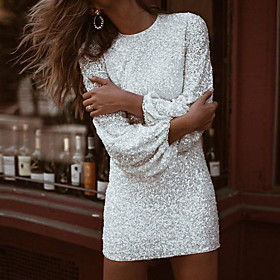 Women's Bodycon Short Mini Dress - Long Sleeve Solid Colored White S M L XL