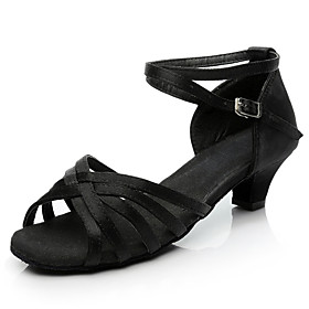 Women's Dance Shoes Satin Latin Shoes / Salsa Shoes Buckle Heel Thick Heel Customizable Black