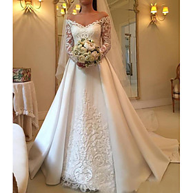 A-Line Wedding Dresses Off Shoulder Sweep / Brush Train Satin Long Sleeve Illusion Sleeve with Lace Insert 2020