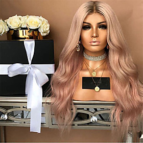 Synthetic Wig Curly Middle Part Wig Pink Long Pink Synthetic Hair 22 inch Women's Party Pink