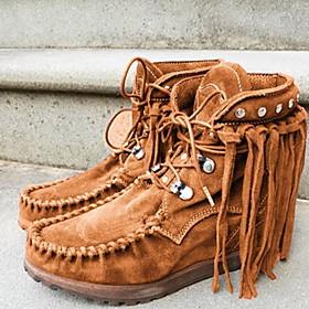 Women's Boots Flat Heel Round Toe Suede Booties / Ankle Boots Winter Black / Brown / Purple