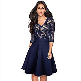 Women's Elegant A Line Dress - Floral Black Wine Blue S M L XL