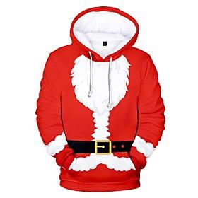 Men's Hoodie Color Block Hooded Christmas Hoodies Sweatshirts  Red Green