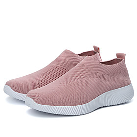 Women's Trainers / Athletic Shoes Flat Heel Round Toe Sporty Casual Daily Outdoor Solid Colored Knit Tissage Volant Running Shoes Fitness  Cross Training Shoes