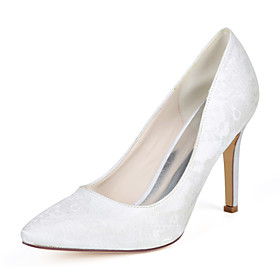 Women's Wedding Shoes Stiletto Heel Pointed Toe Lace Minimalism Fall / Spring  Summer White / Ivory / Light Purple / Party  Evening