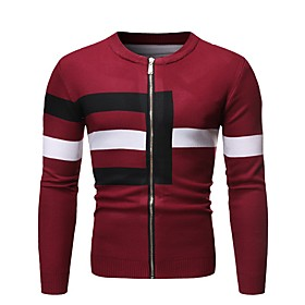 Men's Color Block Cardigan Long Sleeve Sweater Cardigans Stand Collar Fall Black Red Gray