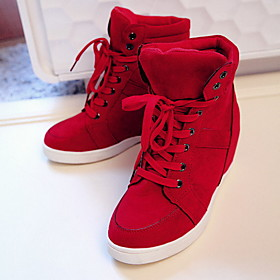 Women's Sneakers Flat Heel Round Toe Canvas Fall  Winter Black / Red