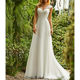 A-Line Wedding Dresses V Neck Sweep / Brush Train Chiffon Regular Straps Beach Boho Illusion Detail Backless with Lace Insert 2020