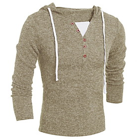 Men's Solid Colored Long Sleeve Pullover Sweater Jumper, Hooded Fall Wine / Dark Gray / Khaki US36 / UK36 / EU44 / US40 / UK40 / EU48 / US42 / UK42 / EU50