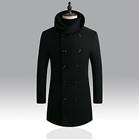 Men's Hooded Trench Coat Long Solid Colored Daily Basic Long Sleeve Black Navy Blue US32 / UK32 / EU40 US34 / UK34 / EU42 US36 / UK36 / EU44 / Slim