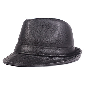 Men's Basic PU Bucket Hat Fedora Hat-Solid Colored Fall Winter Black Brown