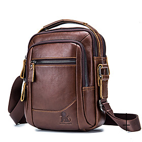 Men's Bags Cowhide Crossbody Bag Zipper Solid Color for Daily / Office  Career Black / Brown / Fall  Winter
