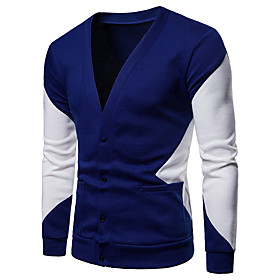 Men's Color Block Solid Colored Cardigan Long Sleeve Sweater Cardigans Deep V Spring Fall Winter Black Navy Blue