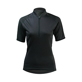 ILPALADINO Women's Short Sleeve Cycling Jersey Winter Elastane Black Bike Jersey Mountain Bike MTB UV Resistant Quick Dry Moisture Wicking Sports Clothing Appa