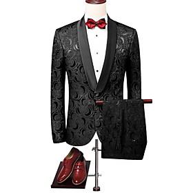 Men's V Neck Suits Floral Black US32 / UK32 / EU40 / US34 / UK34 / EU42 / US36 / UK36 / EU44