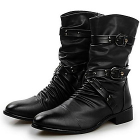 Men's Boots Comfort Shoes Work Boots Daily Leather Booties / Ankle Boots Black Fall  Winter
