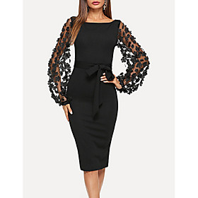 Women's Sheath Dress Knee Length Dress - Long Sleeve Solid Colored Square Neck Elegant Black XS S M L XL