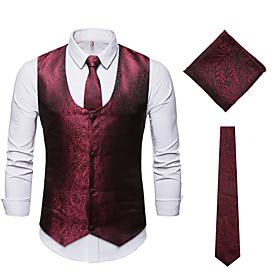 Men's Vest, Solid Colored V Neck Polyester Black / Wine