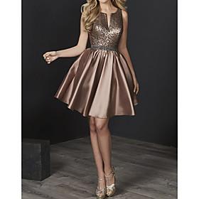 Sheath / Column Elegant Holiday Cocktail Party Dress Jewel Neck Sleeveless Knee Length Satin with Sash / Ribbon 2020