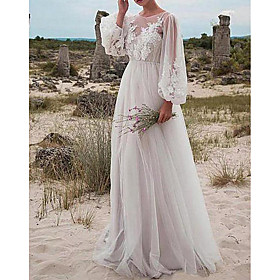 A-Line Wedding Dresses Jewel Neck Floor Length Tulle Long Sleeve Romantic Beach Boho See-Through Illusion Sleeve with Appliques 2020