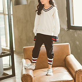 Kids Girls' Basic Striped Long Sleeve Clothing Set White Fabric:Cotton; Sleeve Length:Long Sleeve; Gender:Girls'; Style:Basic; Kids Apparel:Clothing Set; Age Group:Kids; Pattern:Striped; Front page:FF; Listing Date:10/17/2019; Bust:; Length [Bottom]:; Length [Top]:; Special selected products:COD