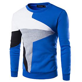 Men's Color Block Pullover Long Sleeve Sweater Cardigans Round Black Blue Light gray