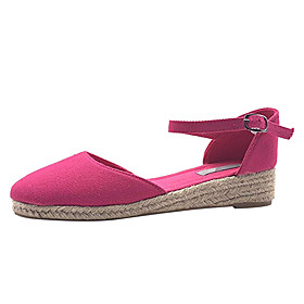 Women's Flats Wedge Heel Round Toe Buckle Canvas Casual Walking Shoes Spring   Fall Purple / Fuchsia / Beige