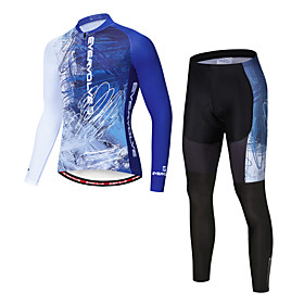 Men's Long Sleeve Cycling Jersey with Tights Winter Fleece Lycra Blue / White Gradient Bike Clothing Suit Fleece Lining Warm Quick Dry Sweat-wicking Sports Gra