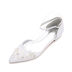 Women's Wedding Shoes Glitter Crystal Sequined Jeweled Flat Heel Pointed Toe Rhinestone / Sparkling Glitter / Stitching Lace Satin Classic / Sweet Spring  Summ