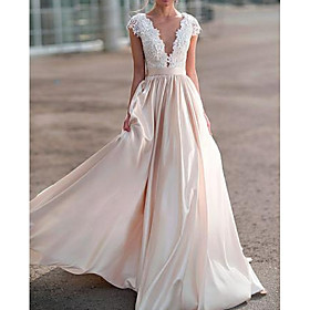 A-Line Wedding Dresses V Neck Sweep / Brush Train Satin Cap Sleeve Romantic Illusion Detail with Buttons Lace Insert 2020