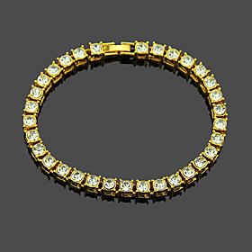 Men's Tennis Bracelet Tennis Chain Vertical / Gold bar Punk Alloy Bracelet Jewelry Black / Gold / Silver For Daily