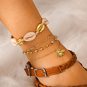 Ankle Bracelet Classic Vintage Trendy Women's Body Jewelry For Holiday Street Layered Rhinestone Shell Alloy Bee Weave Gold 4pcs