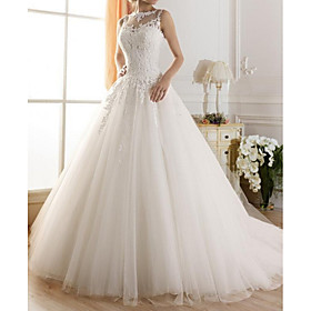 A-Line Wedding Dresses Jewel Neck Sweep / Brush Train Tulle Regular Straps Glamorous See-Through Illusion Detail Backless with Lace 2020