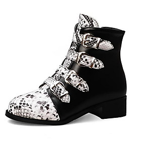 Women's Boots Print Shoes Low Heel Round Toe PU Booties / Ankle Boots Fall  Winter Black / White