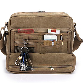 Men's Bags Canvas Crossbody Bag Zipper Solid Color for Daily Black / Khaki / Brown