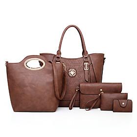 Women's / Girls' Buttons / Zipper PU Bag Set Solid Color 5 Pieces Purse Set Dark Brown / Black / Red / Fall  Winter
